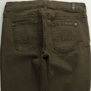 7 For All Mankind Crop Flare 26 Womens Olive C023P